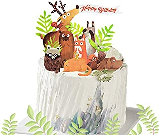 LaVenty Woodland Animal Birthday Cake Topper Woodland Theme Cupcake Toppers Woodland Creatures Cupcake Picks for Forest Baby Shower Woodland Party