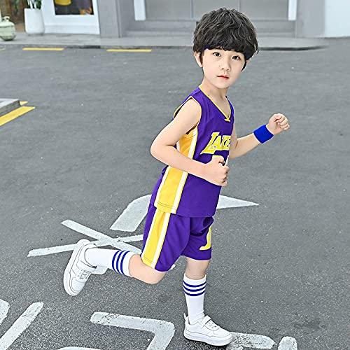 HGFDSA Conjunto De Camiseta De Baloncesto Transpirable De Secado Rápido para Niños, Trajes De Chaleco Deportivo De Camiseta De Verano, Ropa Deportiva, para Niños Niñas,Lakers Blue no. 24,3XL