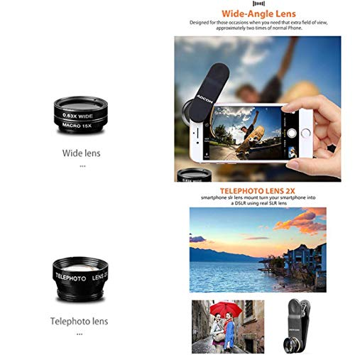 Adcom 5 in 1 Mobile Phone Camera Lens Kit - Compatible with All iOS & Android Devices (Black)