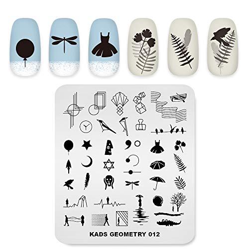 Professional Nail Art Stamping Plaques Modèle avec géométrie Stick figure figure Modèles pour Manucure DIY Image Imprimer Nail Design Nail Art Outils de Transfert