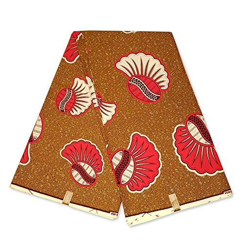 6 Yards - Afrikaanse Stof Mosterd Pinkish Shells Wax Print Doek - Ankara Katoen Stoffen - Julius Holland