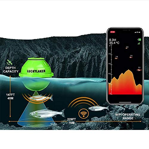 Lucky Smart Fish Finder – Portable Wi-Fi Fish Finder for Recreational Fishing from Dock, Shore or Bank