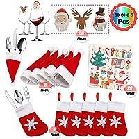 ❤I kit di decorazioni per la tavola di Natale includono: 6 tasche portaposate per calzino per stoviglie di Natale, 6 decorazioni per bottiglie di vino per cappello di Babbo Natale, 30 divertenti cartoline di decorazioni in vetro di Natale, 20 tovagli...