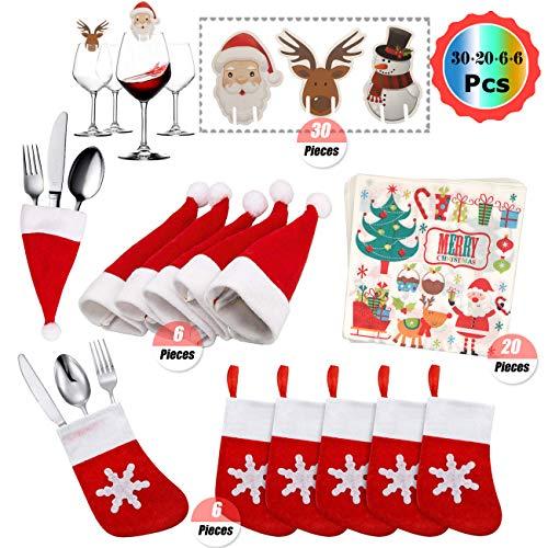 YuChiSX Kerst Tafeldecoraties Kits, Kerstman Hoed, Kerst Servies Sok Bestekhouder Zakken, Leuke Kerst Glasversieringen Tafeldecoraties Kerst Cheer