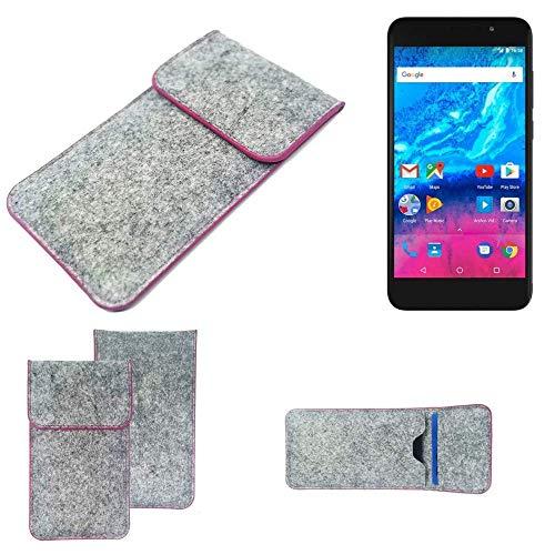 K-S-Trade Handy Schutz Hülle Für Archos Core 55P Schutzhülle Handyhülle Filztasche Pouch Tasche Hülle Sleeve Filzhülle Hellgrau Pinker Rand