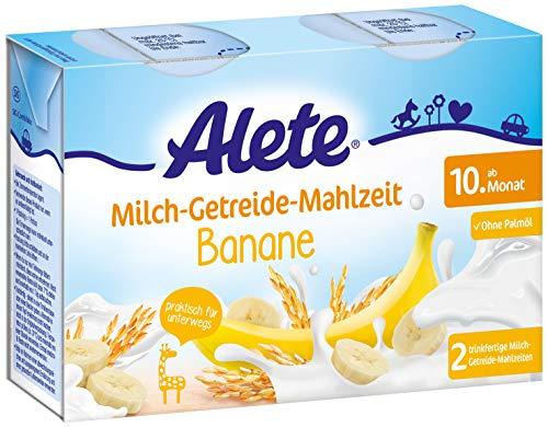 Alete Milch-Getreide-Mahlzeit Banane, praktisch für zuhause & unterwegs, mit viel Calcium, Vitamin C & Zink, ohne Palmöl, ab dem 10. Monat, 400 ml, 84503