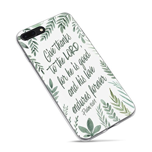 iPhone 7/iPhone 8/iPhone SE(2020),Cute Flowers Girls Floral Leaves Bible Verses Women Quotes Christian Inspirational Psalm 106:1 Lord Soft Clear Side Case Compatible for iPhone 8/iPhone 7