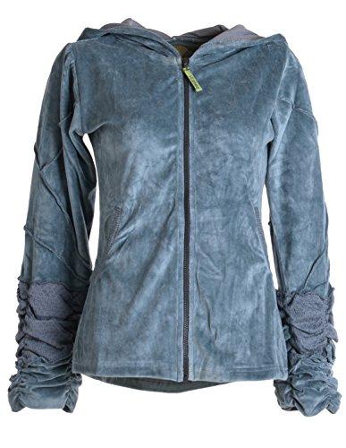Vishes – Alternative Bekleidung – kuschelige Samtjacke mit extra großer Kapuze grau 42