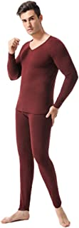 Inlefen Men's Thermal Underwear Sets Long Johns V Neck Warm Thick Soft Breathable Elastic Slim Winter Man Long Sleeve Tops and Pant