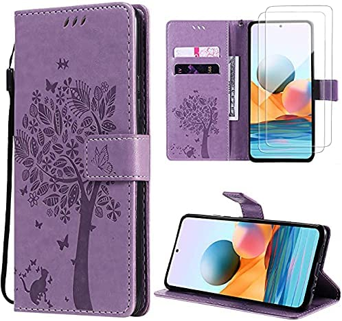 Oududianzi Funda para Xiaomi Redmi Note 10 Pro/Note 10 Pro MAX + [2 x Protectore Pantalla] Cierre Magnético Flip Case PU Cuero Billetera Carcasacon Tapa Ranuras para Tarjetas y Soporte -Púrpura