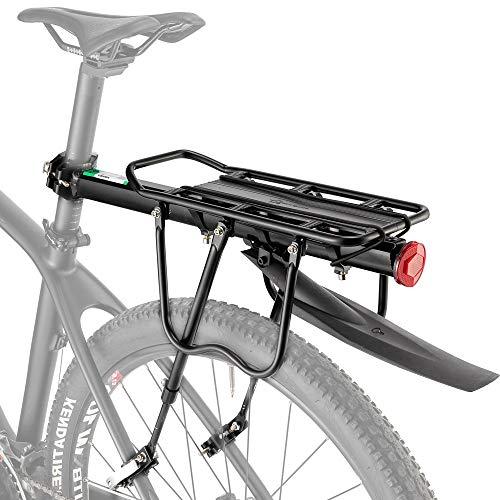 HYSENM Portapacchi Posteriore Per Bicicletta in Lega di Alluminio Durevole Sgancio Rapido Regolabile Portabagagli Accessori Ciclismo Nero con Parafango 20.9x5.5