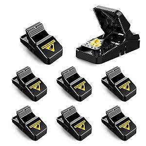 O-Kinee Trampas para Ratones, 8 Pcs Reutilizable Trampa Ratones, Trampa Ratas para Hogar Ático Garaje Cocina, Alta Sensibilidad, Fácil de Usar