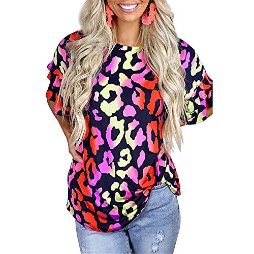 PANBOB Camisa Mujer Cómodo Estampado De Empalme De Leopardo Bolsillos con Cuello En V Decoración Tops Mujer Generosa Elasticidad Transpirable Casual Desgaste Diario Mujer Blusa K-Multicolor S