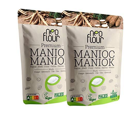 Farine de Manioc Premium / Spéciale pour Patisserie et Cuisine / Sans Gluten / 100% Naturelle / Sans Conservateurs / Sans Additifs / VEGAN / PALEO / Nutri-Score A / 1000g