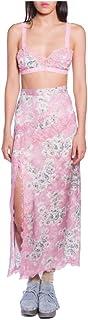 Anna Sui Women'S Lilac Cornflower Jacquard Midi Side Slit Skirt