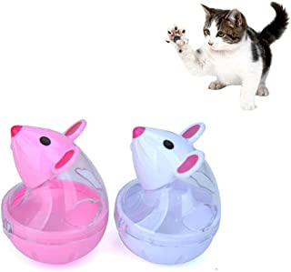 WXLAA Cat Treat Dispenser Ball Toy, Mice Shaped Tumbler Slow Feeder Food Ball Pet Interactive Treat Toy