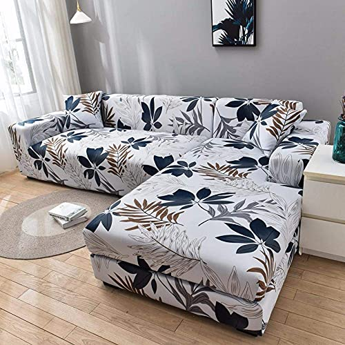 L.TSA Funda de sofá elástica, para Sala de Estar Funda de sofá geométrica elástica para Esquina Larga en Forma de L-1_1-Seat_and_2-Seat, Protector de sofá Antideslizante