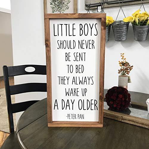 Erti567an Peter Pan - Cartel Enmarcado con Texto en inglés Little Boys Should Never go to Bed