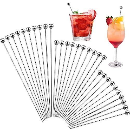 Stuzzicadenti da Cocktail Pick di Martini Acciaio Inox Bastoncini da Cocktail Metallo Riutilizzabili Stuzzicadenti di Frutta 4,3/6/ 8,3 Pollici (Argento, 30)
