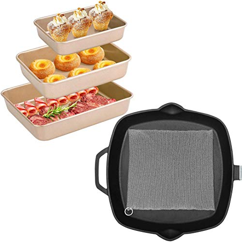 """Amagabeli Nonstick Bakeware Set of three Pieces Bread Pan Baking Pan Cookie Sheets 9/11/13 inch Bundle 10""""x10"""" Cast Iron Cleaner"""