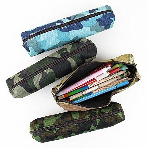 Camouflage Federmäppchen Reißverschluss Bleistifttasche Leinen Bleistifttasche Kosmetik Pinsel Tasche 4er Set
