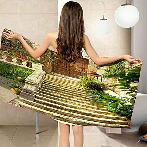 VJEJSE Toalla de Playa Grande toalla de baño 100% Microfibra 100x200 cm Pasos de puerta de madera vintage Toallas de Piscina Grandes Suave y de Secado Rápido Toalla de impresión, Toalla, Toalla de Gim