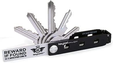 Keyport Pivot Key Organizer - Smart Key Holder & Modular EDC Keychain Multitool - Modern Swiss Army Key Chain with Built-in Lost & Found (Black)