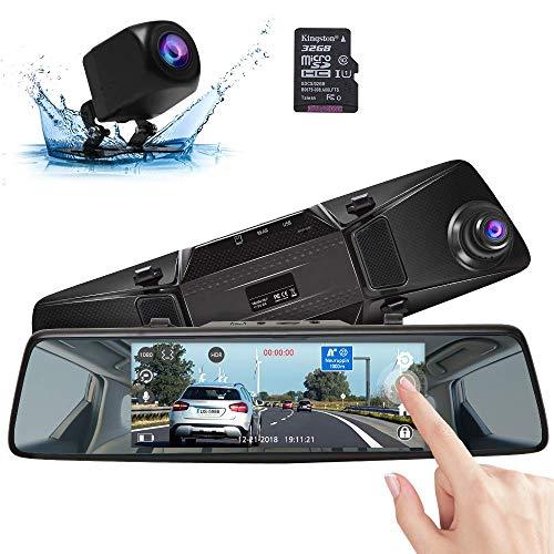 """AKASO Rückspiegel Dual Dashcam Spiegelkamera, Autokamera Dual Lens mit 7\"""" 1080P FHD Touchscreen, Nachtsicht, G-Sensor, Parkmonitor, 32 GB SD-Karte, wasserdichte Frontkamera Rückfahrkamera (DL7)"""