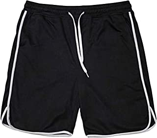 iYYVV Fashionable Mens Elastic Rope Stretch Mesh Pocket Casual Plain Sports Shorts