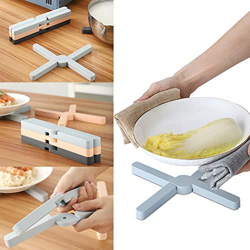 QINGJIANG X-Förmige Silikon-Isoliermatte, faltbar, Topfuntersetzer, Topfuntersetzer, Topfuntersetzer, für Küche und Esszimmer grau