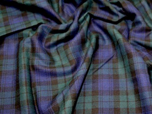 Minerva Crafts Kleiderstoff mit Schottenmuster (Blackwatch), gebürstete Baumwolle, Meterware