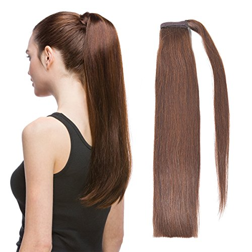 """18"""" Straight Wrap Around Ponytail Human Hair Extensions for Women 70gram Chocolate Brown 4#"""