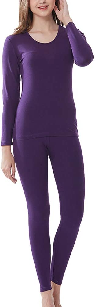 BIXUYAO Thermal Underwear for Women/Single Layer Ultra-Soft Set Leggings Base Layer Lined Tops Suitable for Inner Wear,Purple,XL