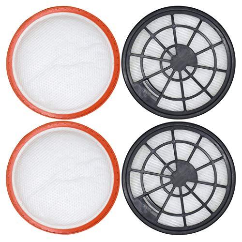 Set di 4 filtri per Dirt Devil DD2650-1, DD2651-0, DD2651-1, DD2720 2620001, 2620002, 2 filtri di protezione motore + 2 filtri dell'aria di scarico