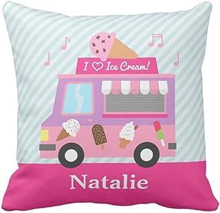 Jhonangel Throw Pillow Cover Colorful Cone Sweet Purple Pink Ice Cream Truck Girls Room Girly Funda de Almohada Decorativa Decoración para el hogar Plaza 18x18 Pulgadas Funda de Almohada
