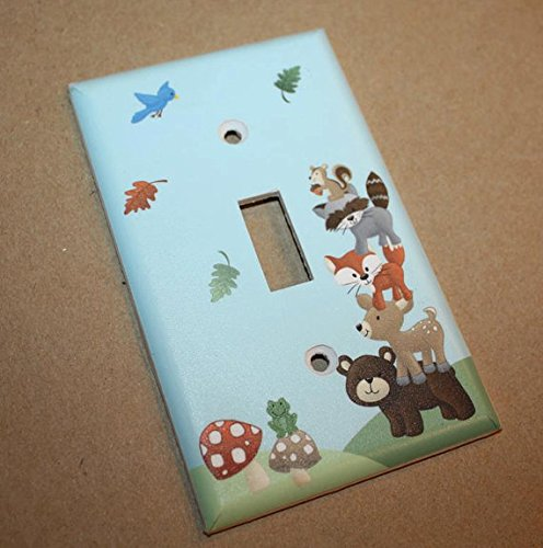 Forest Animal Woodland Friends Stacked Forest Critters Boys Bedroom Baby Nursery Single Light Switch Cover LS0021 (Single Outlet)