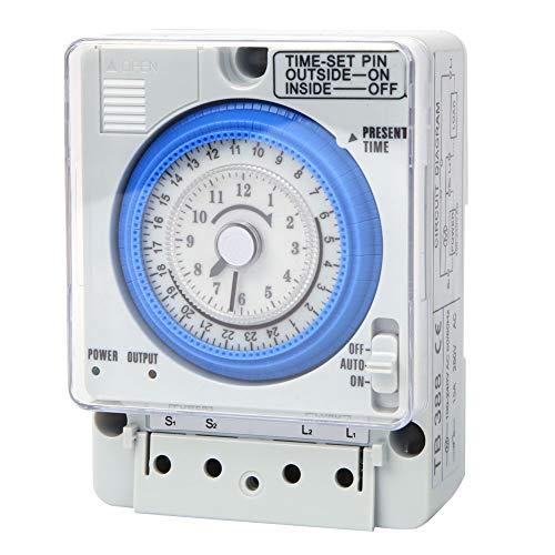 Interruptor temporizador, temporizador mecánico de 24 horas, TB388 15 minutos 24 horas relé temporizador CA 220 V 10 A, para alumbrado público, sistemas de control de tiempo de bajo voltaje, con bater