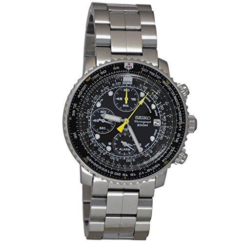 Seiko Herren-Armbanduhr SNA411P1, 42 mm, Stahlarmband und Gehäuse, Quarz, schwarzes Zifferblatt, Analog-Armbanduhr