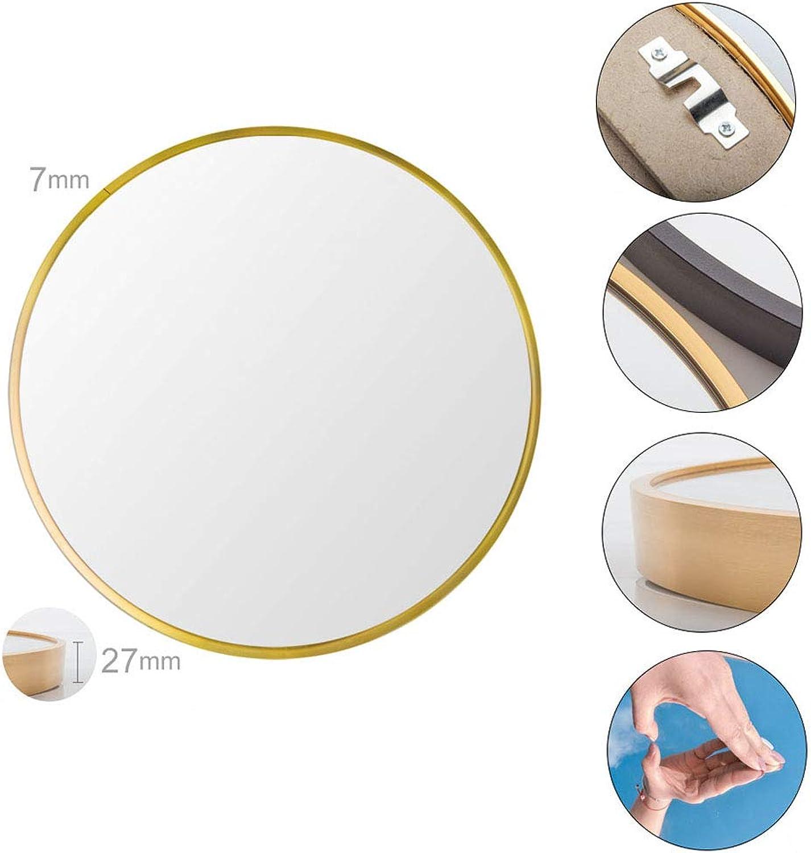 Bathroom Mirror, 50cm Wall Hanging Makeup Mirror, Round Living Room Porch Vanity Mirror, Metal Frame Explosion-Proof gold Black