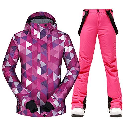 WEIYYY 2020 New Ski Suit Damen MountainSkijacke Snowboardhose Female Waterproof Thicken Set Schneewarm Wintersport Kleidung, ZSJ 1905PINK, M.