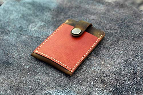Handmade Leather pull up card holder men's Leather credit card case with Pull Tab minimalist card holder thin minimal card wallet CH05PT