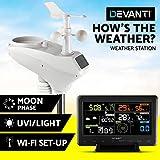 Devanti Weather Station Wireless WiFi Rain Gauge Solar Sensor LCD Display UV Light