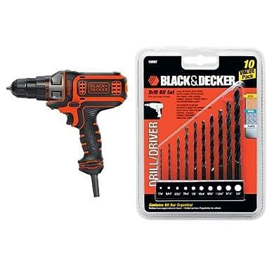BLACK+DECKER BDEDMT Matrix AC Drill/Driver with 15557 Drill Bit Set, 10-Piece