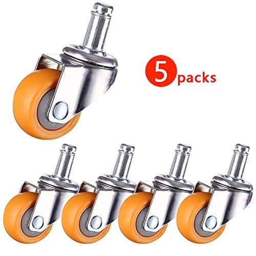JincaiSC wielen voor bureaustoel M11 Stem 1.5''/2inch 50mm stille rubber/nylon zwenkwielen voor meubels 180kg stofdichte universele lager stille rollen voor trolley 5 stuks
