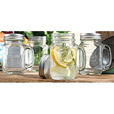 Palais Mason Jar Tumbler Mug with Stainless Steel Lid - 16 Ounces - Set of 4 - ('Ice Cold Drink' Emblem)