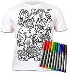 Splat Planet Camiseta Dinos, Dinosaurios para niños y niñas. con impresión para Pintar y Colorear. Incluye 6 Colores mágicos Lavables. Cumpleaños Infantil 7-8 años.