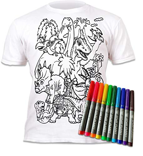 Camiseta infantil para niños y niñas, diseño de dinosaurios para pintar y colorear con preimpresión. Incluye 6 lápices de colores mágicos lavables. Blanco 3-4 Años