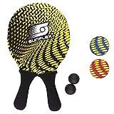 Sunflex Neopren Beachball Set Splash mit Zwei Schlägern und Zwei Bällen weich und leicht | extrem robust und wasserfest (Schwarz)