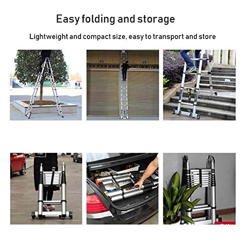 LADDERS Ladder Telescopic Ladders,Folding Atelescopic Ladder, Heavy Duty Multi Purpose Engineering Extension Ladder with Glide Wheel, 330Lbs Capacity,2.9M/9.5Ft