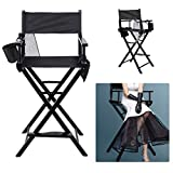 ICOCO Professional Director Chair Folding Wooden Lightweight,Portable Makeup Artist Chair Foldable Telescopic,With Arms And 2 Side Bags